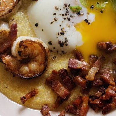 Slow-Poached Eggs with Shrimp and Grits