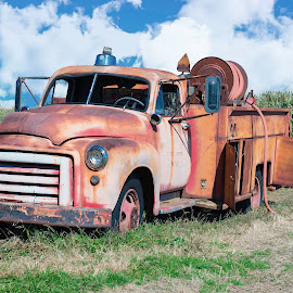Old Firetruck by Justin Duff - Transportation Automobiles ( car, field, old, truck, rusted, firetruck, abandoned )