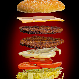 Burger Exploding by Jason Lovell - Food & Drink Ingredients ( salad, burger, bun, meat, cheese, hamburger )