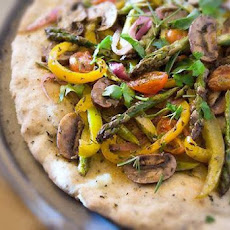 Gluten-Free Pizza Flatbread Recipe Topped with Roasted Vegetables