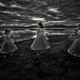 Elf-dance by Thomas Gudbrandsen - Wedding Other ( water, clouds, bridesmaids, girls, nature, wedding, skies )