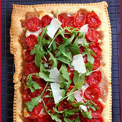 Roasted Tomatoes, Red Onions and Arugula Tart