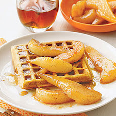 Spiced Waffles with Sauteed Pears
