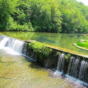 Rockbridge Falls by Sue Neitzel - Landscapes Waterscapes ( water, green, fishing, ozarks, landscapes )