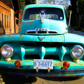 by Keith Sutherland - Transportation Other ( lights, old, truck, vintage, green, ford )