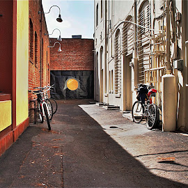 Bikes by Richard Timothy Pyo - City,  Street & Park  Street Scenes ( orange, old, bike, orange county, california, old town, town, alley )