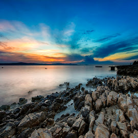 Show me the way by Davor Strenja - Landscapes Waterscapes ( shore, bibinje, blue, sunset, laqndscape, croatia, way, stone, sea, sun )