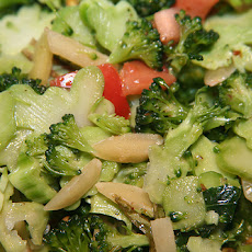 Broccoli Peach Salad With Avocado and Sunflower Seeds
