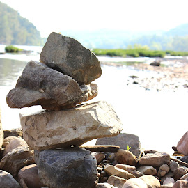 Serene by Amber Powell - Nature Up Close Rock & Stone ( sculpture, zen, rock, harpers ferry, river )