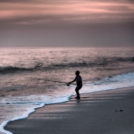 Lone Surf Caster at Dawn by Jim Rabenstine - Sports & Fitness Other Sports