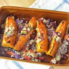 Pomegranate and Chocolate Glazed Butternut Squash with Quinoa Pilaf and Gorgonzola Cheese