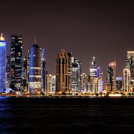 Doha, Qatar by Michael Wiejowski - City,  Street & Park  Skylines ( skyline, doha, night, qatar, travel, city )