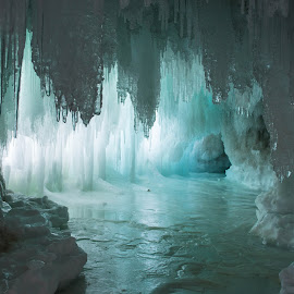 Ice Cave by Jill Laudenslager - Nature Up Close Water ( michigan, winter, blue, ice, lake superior, frozen )