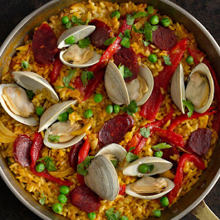 Weeknight Chorizo and Clam Paella