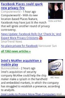 Screenshot of Google tech news.