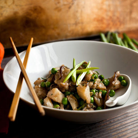 Wok-Seared Cod With Mushrooms and Peas