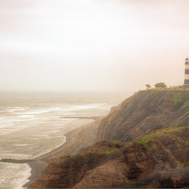 Miraflores Lighthouse by Denis Spray - City,  Street & Park  Vistas ( vista, lighthouse, beach, cityscape )