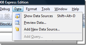 Add New Data Source option in Visual Studio