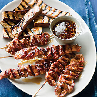 Caramelized Pork Kebabs with Chinese Eggplant