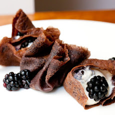 Cocoa Crepes with Mascarpone and Blackberries