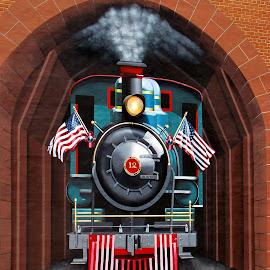 The Train Mural by Christine Keaton - City,  Street & Park  Street Scenes (  )