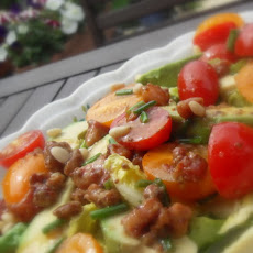Avocado and Baby Gem Salad with a Warm Pancetta and Mustard Dressing