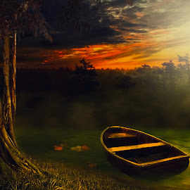 Hening by Sakura Art - Digital Art Places ( boat     tree    water     little forest     sky   sunrise )