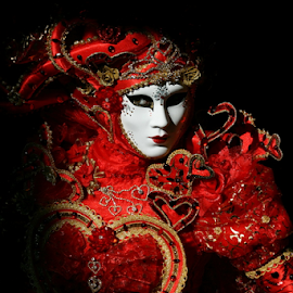 Venice Mask - Red heart by Dominic Jacob - News & Events World Events ( venezia, heart, red, carnival, carnevale, venice, mask, italy, masque, maschere )