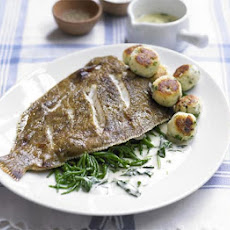 Grilled Lemon Sole With Dumplings & Lemon Sauce