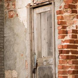 old wooden door by Eva Ryan - Buildings & Architecture Architectural Detail ( work, old, worn, brick, door,  )