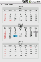Screenshot of Wallet Calendar