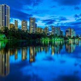 Londrina Azul by Tony Saad - City,  Street & Park  City Parks ( brazil, londrina, park, lake, long exposure, city park, brasil )
