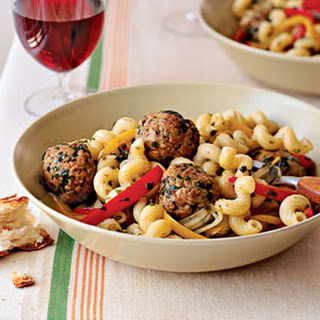 Pasta with Sausage Meatballs, Peppers, and Onions