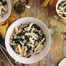 Penne with Goat Cheese, Kale, Olives, and Turkey