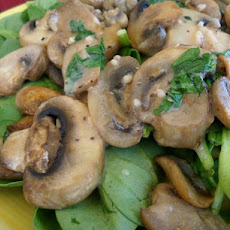 Sauteed Mushrooms on Red Wine Vinaigrette Spinach Salad
