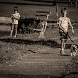 Brothers by Petra Bensted - Babies & Children Children Candids ( child, walking, boys, children, dog )