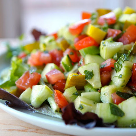 Israeli Salad with Pickles and Mint