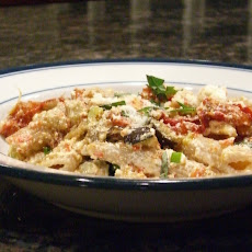 Penne with Roasted Eggplant, Tomatoes and Ricotta Cheese