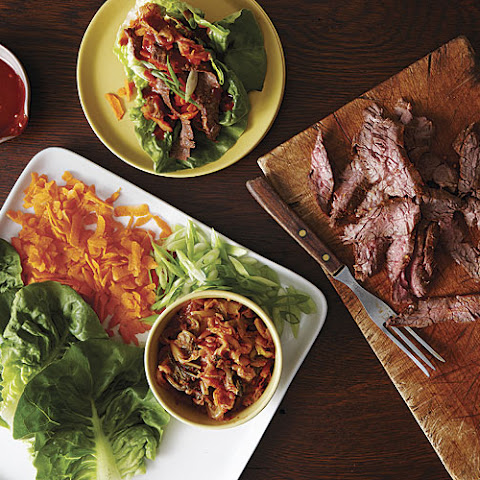 Grilled Hanger Steak With Korean Flavors And Spicy Potato Pancakes ...