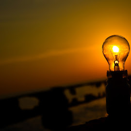Use Solar Energy by Sanand Shaji - Abstract Fine Art ( creative, sunset, bulb, beach, nikon, light, solar energy )
