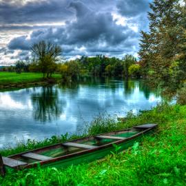 Wooden boat on dry land by Oliver Švob - Transportation Boats ( clouds, korana, sky, hdr, karlovac, fisherman boat, croatia, landscape, boat, wooden boat, river,  )