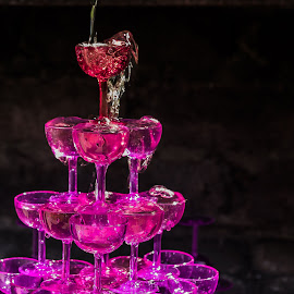 by Sandra Pyke - Food & Drink Alcohol & Drinks ( wine, tower, sanlee, glasses, pink, fun, party )