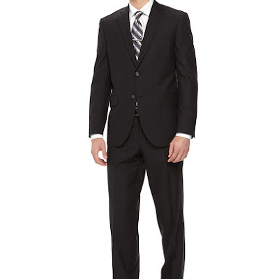 Neiman Marcus Two-Piece Ribbed Wool Suit, Navy - (40R)