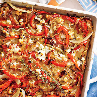 Bell Pepper and Goat Cheese Strata
