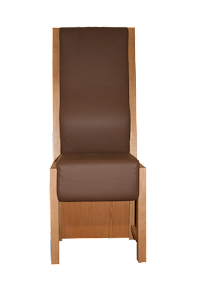 Front View of a Leather Upholstered Dining Chair in American Black Walnut