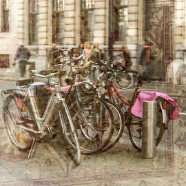chaos through the window by Radijsje VC - Transportation Bicycles ( building, reflection, bikes, people, street photography )