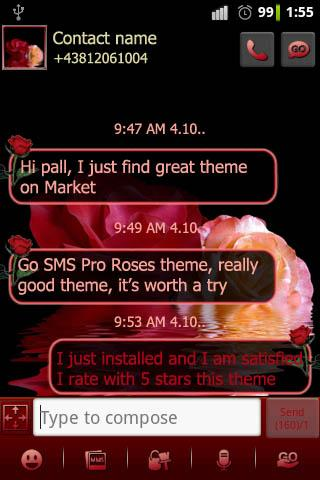 Roses theme Go SMS Pro
