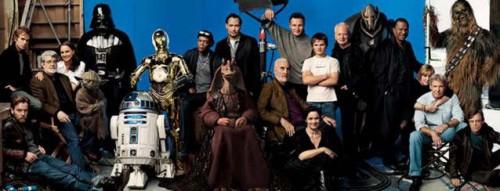 George Lucas e o elenco dos seis filmes