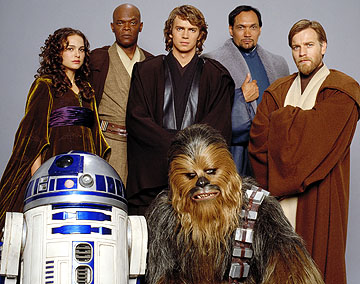 Padmé, Mace Windu, Anakin, Bail Organa, Obi-Wan, R2 e Chewbacca