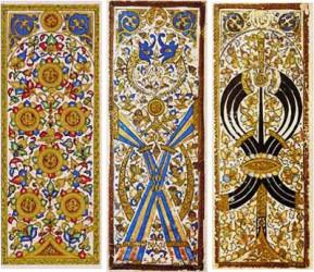 Mulûk wa-Nuwwâb: 6 de moedas, 4 de bastões e 6 de espadas